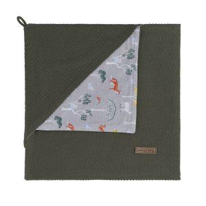 Hooded baby blanket Forest khaki