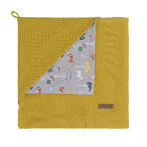 Hooded baby blanket Forest mustard