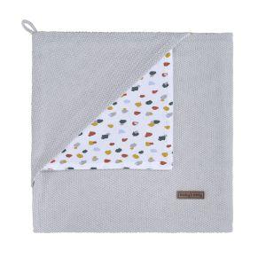 Hooded baby blanket Leaf silver-grey