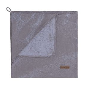 Hooded baby blanket Marble cool grey/lilac