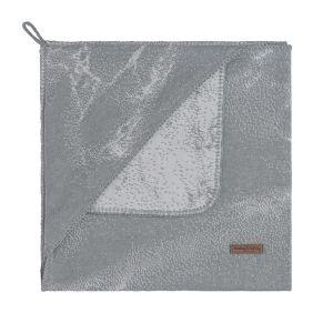 Hooded baby blanket Marble grey/silver-grey