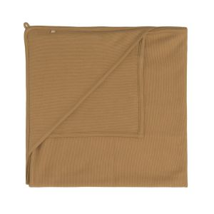 Hooded baby blanket Pure caramel - 75x75