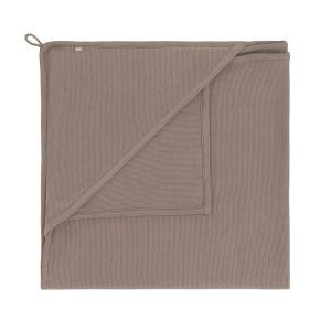 Hooded baby blanket Pure mocha - 75x75