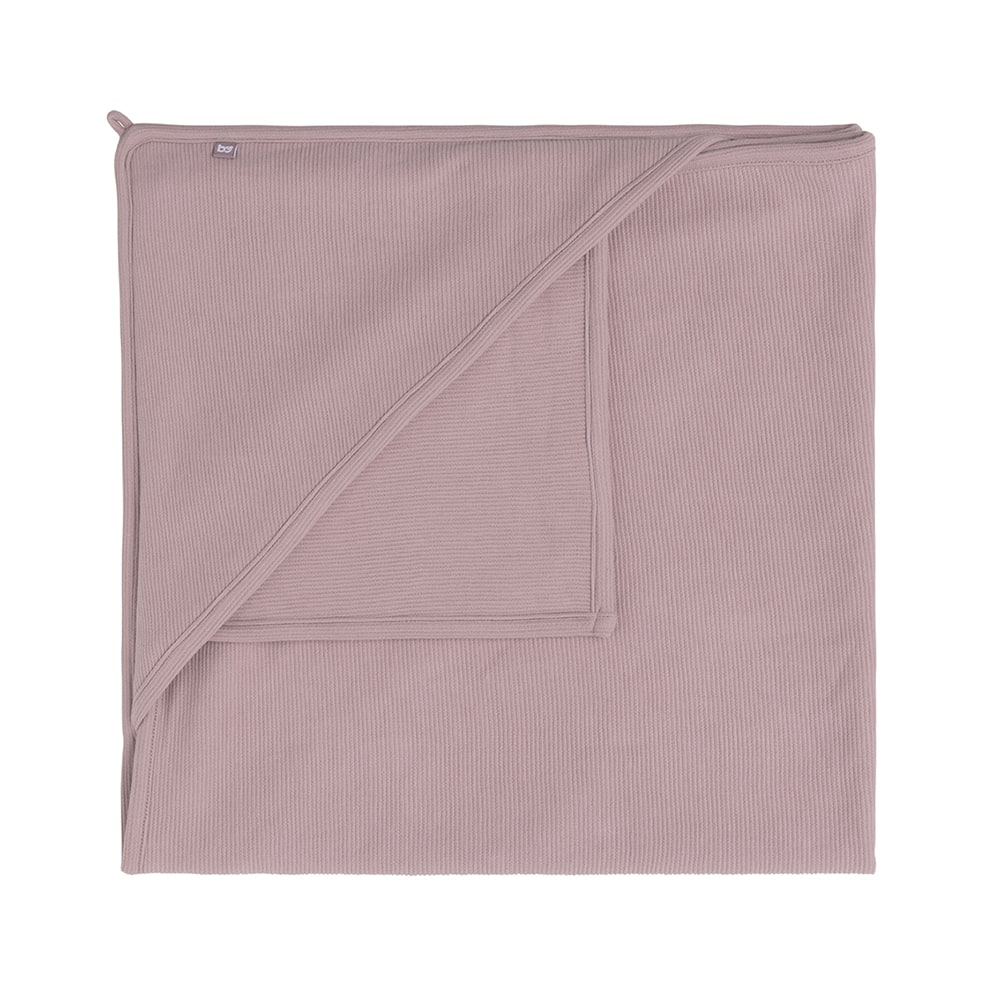 hooded baby blanket pure old pink 75x75