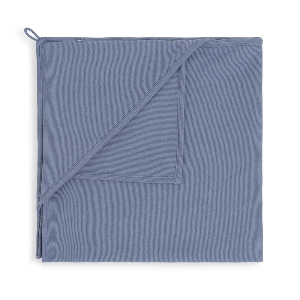 hooded baby blanket pure vintage blue 75x75