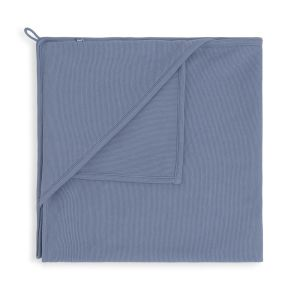 Hooded baby blanket Pure vintage blue - 75x75