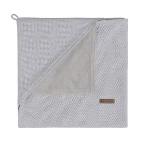 Hooded baby blanket soft Classic silver-grey