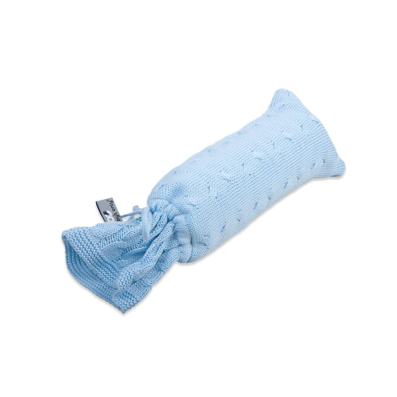 hot water bottle cover cable baby blue