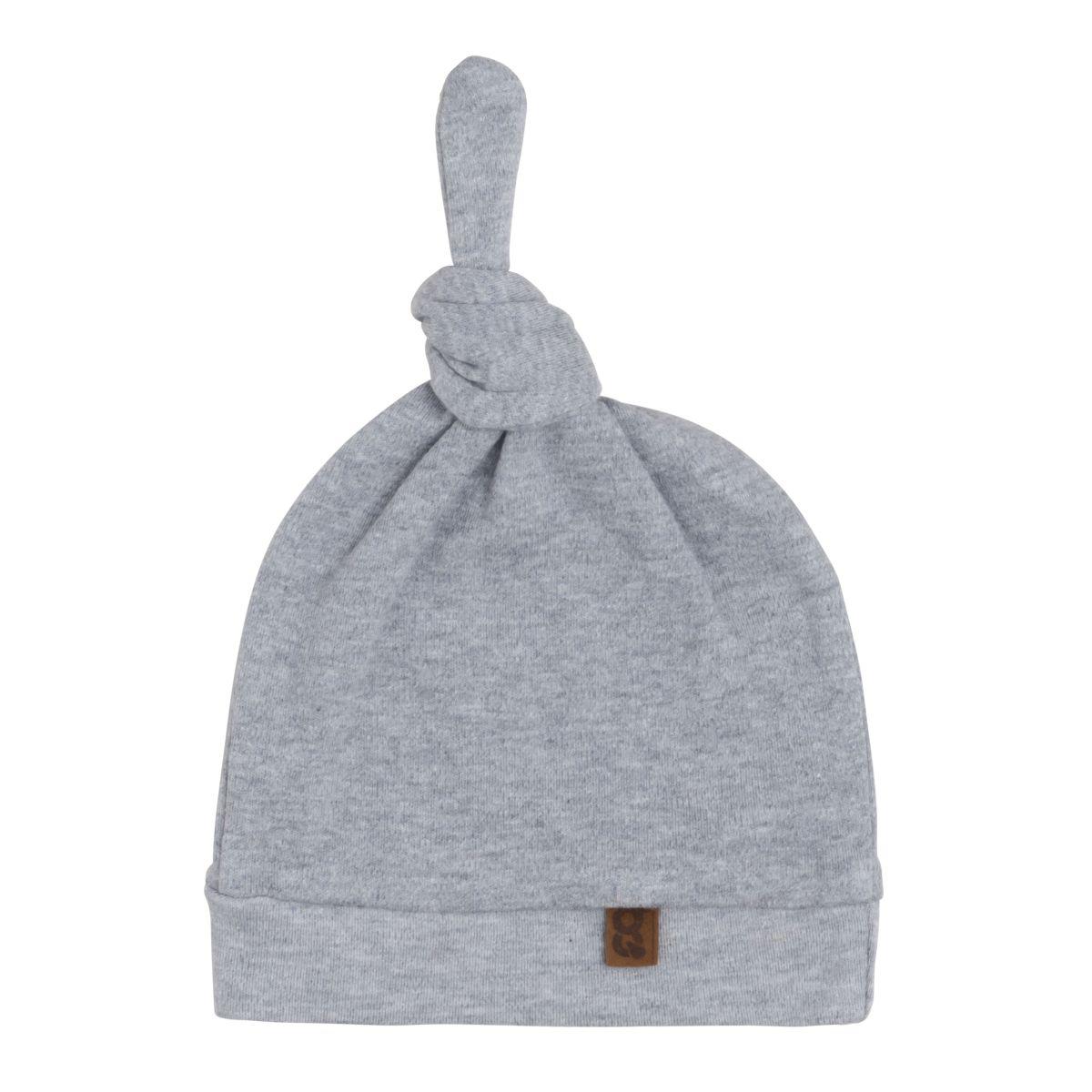 knotted hat melange grey 03 months