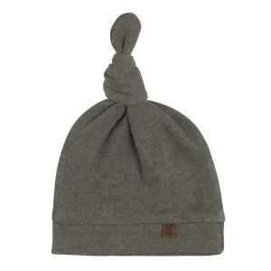 Knotted hat Melange khaki - 0-3 months