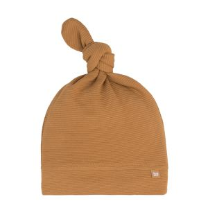 Knotted hat Pure caramel - 0-3 months