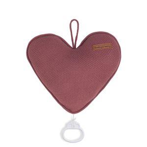 Music box heart Classic stone red