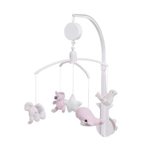 Musical mobile classic pink/baby pink/white