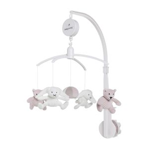 Musical mobile old pink/pebble grey/white