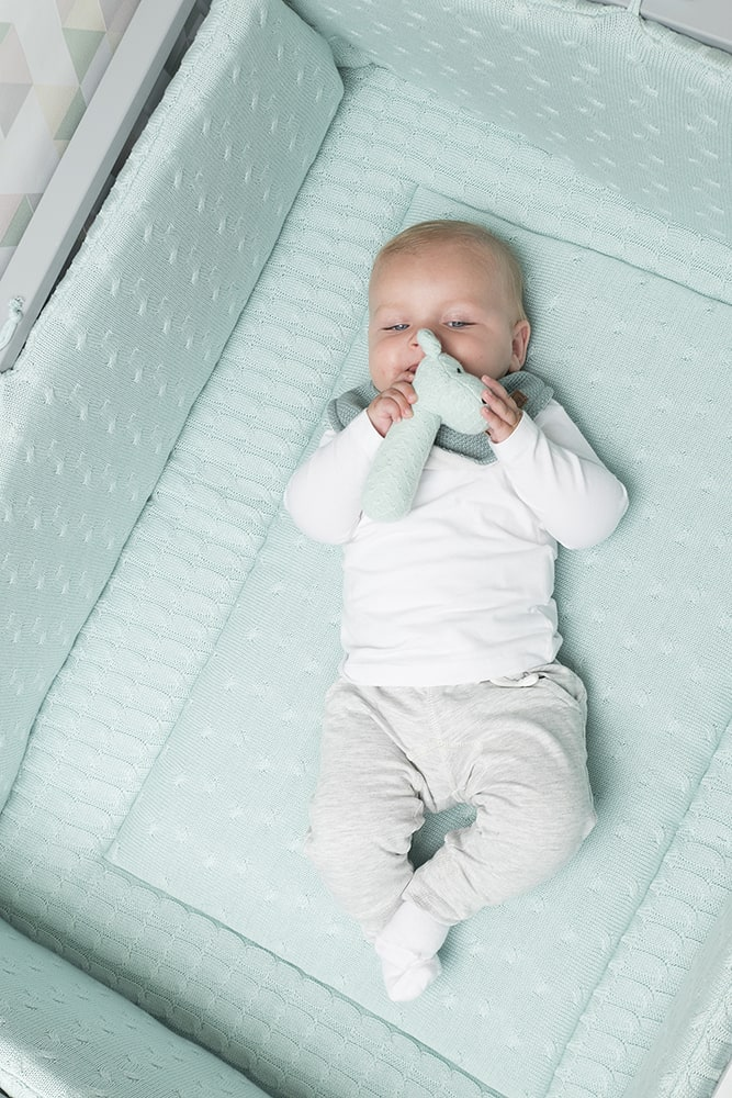 playpen bumper cable baby blue