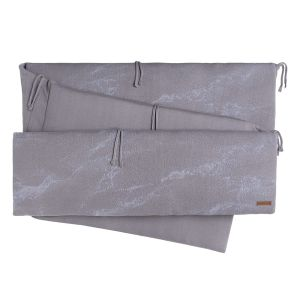 Playpen bumper Marble cool grey/lilac