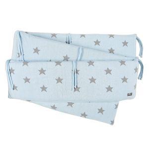 Playpen bumper Star baby blue/grey