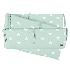 Playpen bumper Star mint/white
