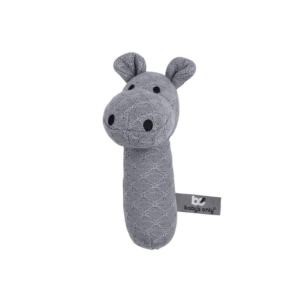 rattle hippo grey