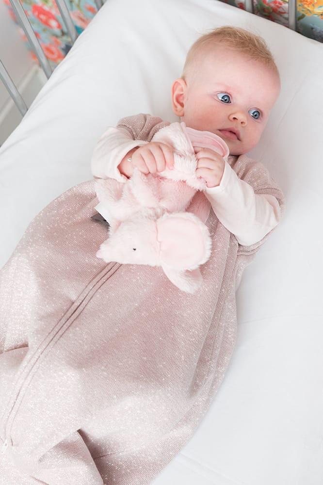 sleeping bag teddy sparkle silverpink mlee 70 cm