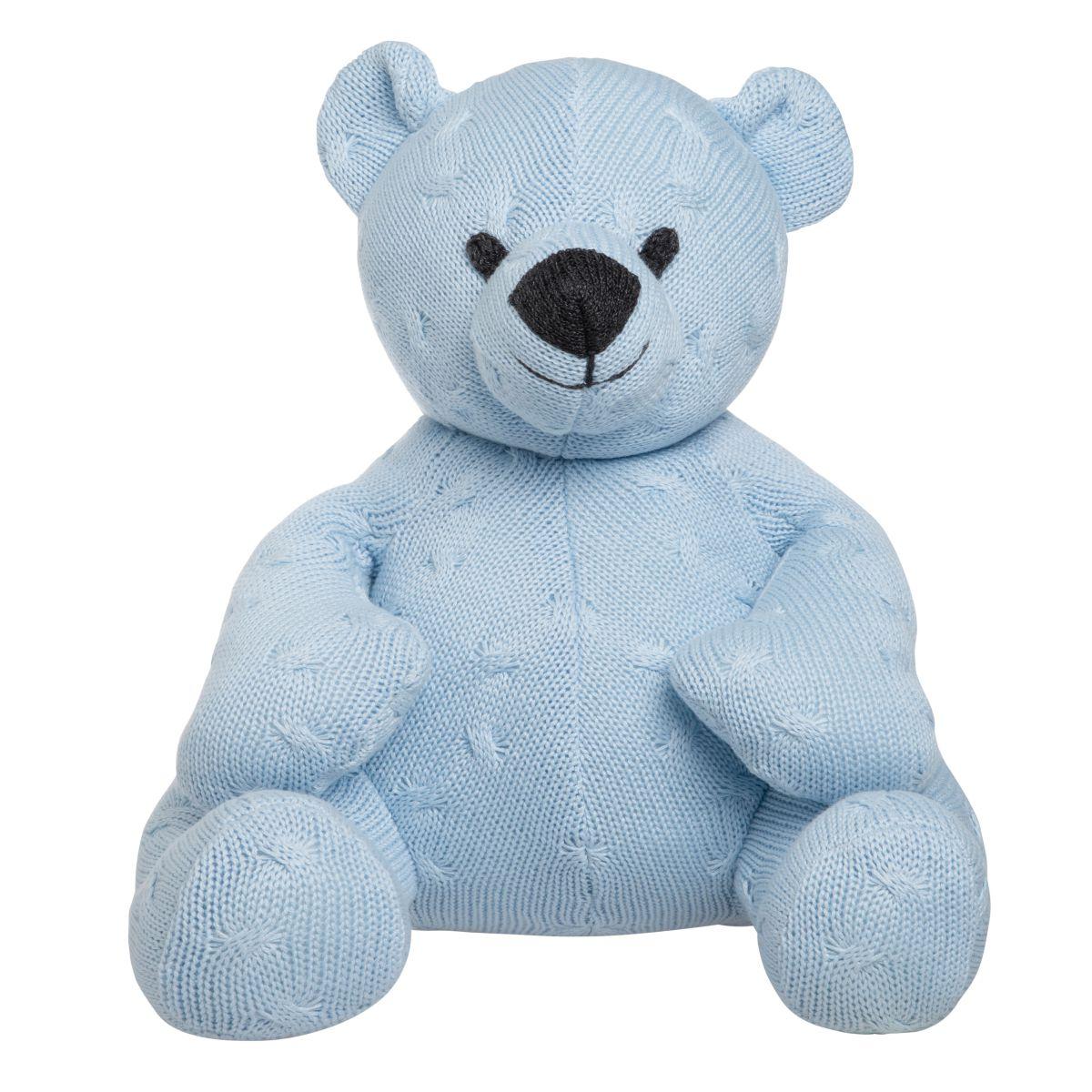 stuffed bear cable baby blue 35 cm