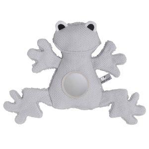 Stuffed frog silver-grey