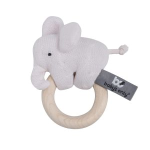 Wooden rattle elephant classic pink