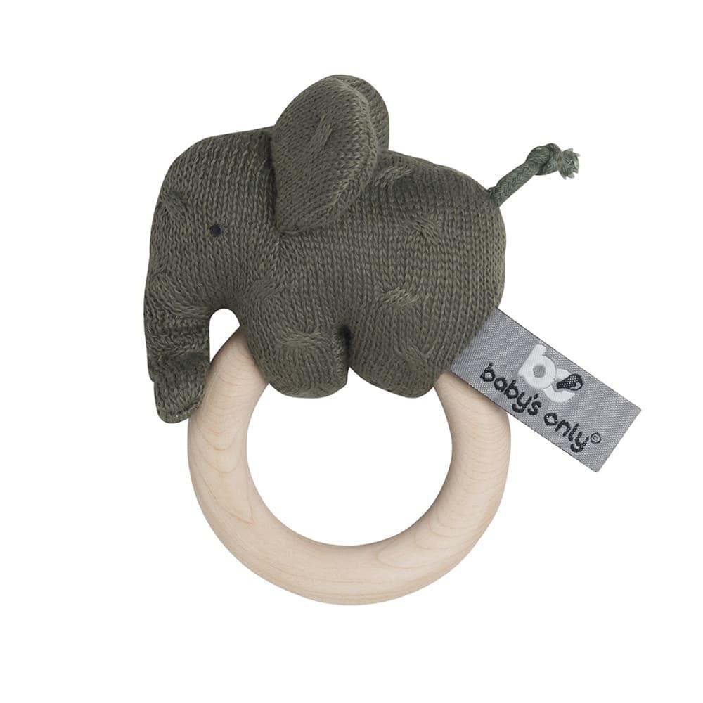 wooden rattle elephant khaki