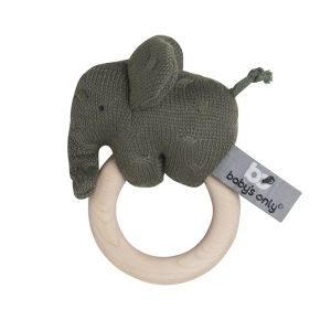 Wooden rattle Elephant khaki