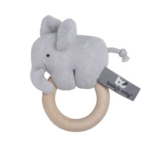 Wooden rattle Elephant silver-grey