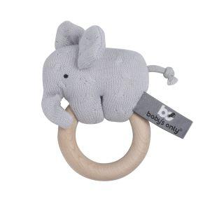 Wooden rattle elephant silver-grey