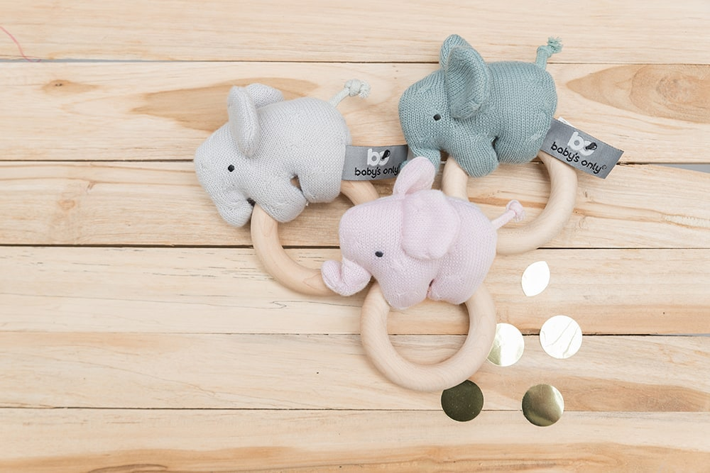 wooden rattle elephant silvergrey