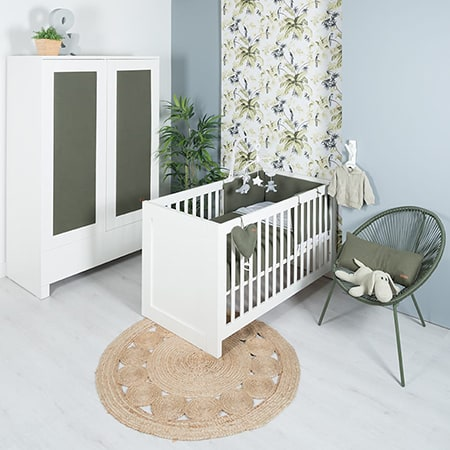 White and green baby room