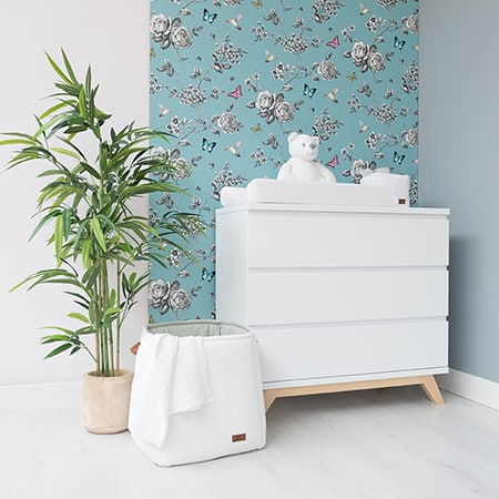 White baby commode with Baby's Only products